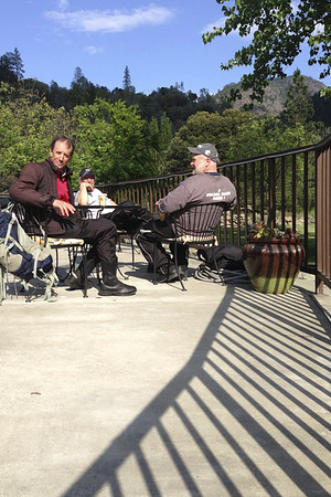 On the patio at the Straw House, Big Flat on Hwy. 299.  Last stop for sustenance on the way home.