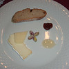 cheese course...2 types of cheese, bread freed from the toster, fig preserves, honey, and pistashios