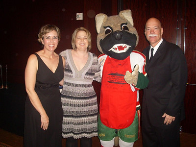 I love friends with benefits! Me with Monica, the Aeros mascot, and Rodney.