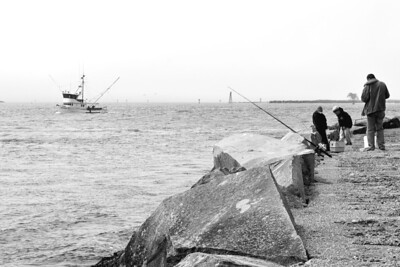 Fishing on the bay and the north jetty.