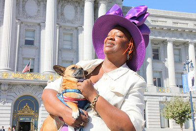 Idell Wilson with her service dog in front of San Francisco City Hall, September 27th, 2011.