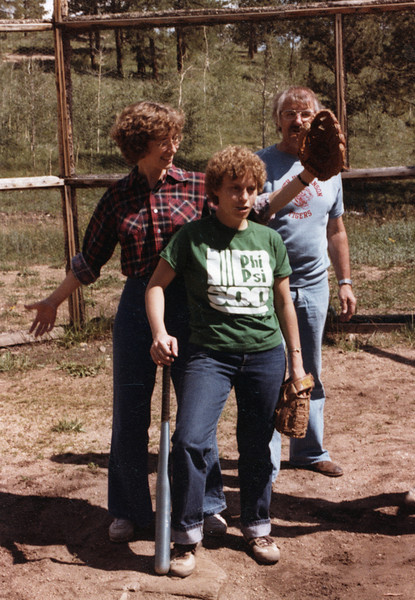 Becky playing ball with sibs, age 24-5?
