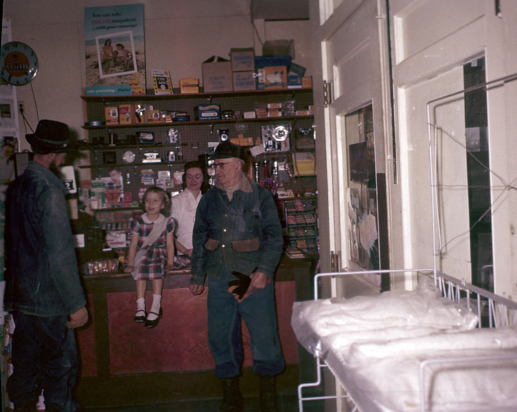 Becky in her Dad's grocery store, 1959 (age 6?)