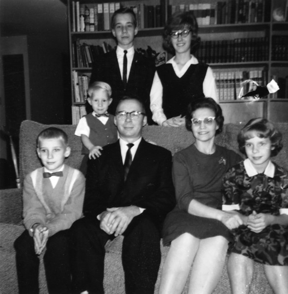 Becky with family, around age 15? - Front:  Dan, Joe, Vernon, Nora, Becky.   Back: Bill, Susan