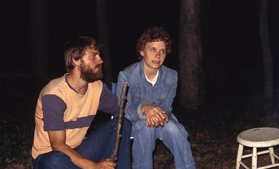 Becky and Jon around campfire