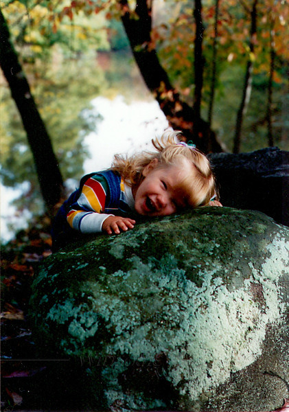 This was taken at the Unami Creek, where DayBreak once stayed in a cabin to do some extended practice. Sally's last few words to me referred to a memory of this time. We all loved the scenery there.  (Lydia hugging a boulder at Unami Creek, 15 months old?)
