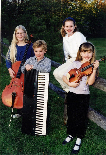 Sally loved the kids joining in our music-making  (DayBreak kids, 1998 - Trudy Yoder, Seth Yoder, Emily Cole, Lydia Yoder)