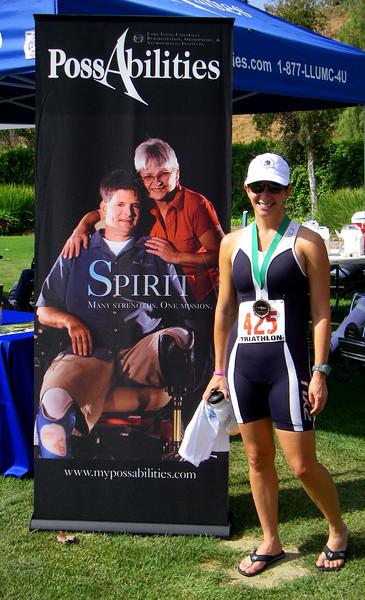 Ines at the Team PossAbilities Sprint Triathlon Redlands CA, April 27, 2008
