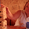 Jenga Master Karen in Deep Concentration