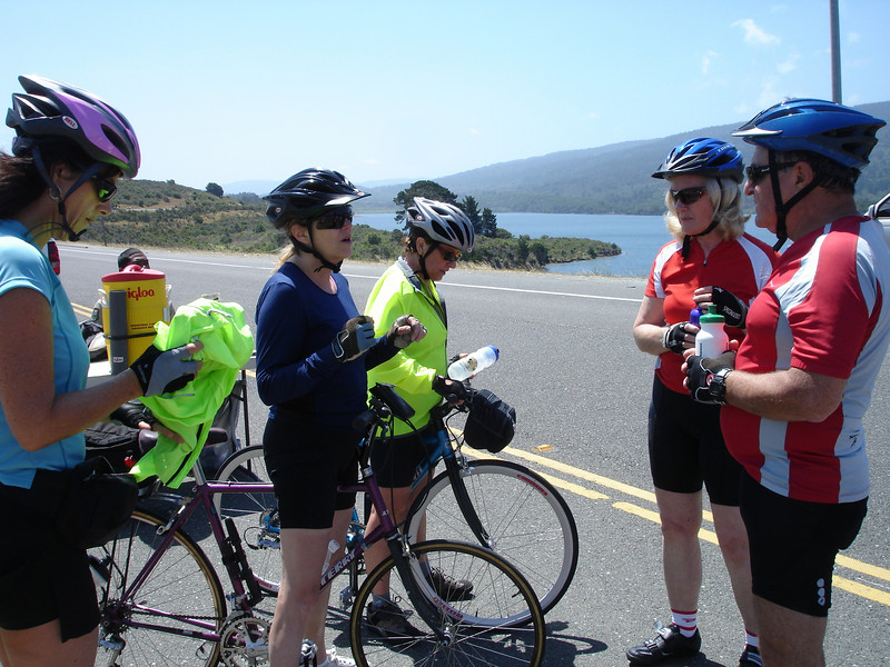 Sunday Bike Ride: Kathy, Cathy, Susan. Pat, Maurice at Crystal Springs