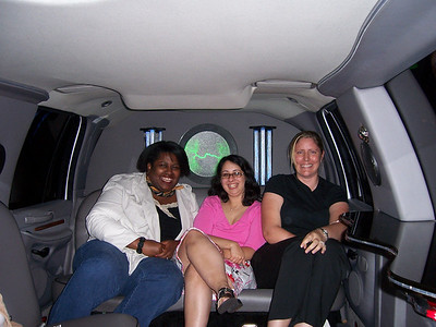 Gals hangin in the limo.