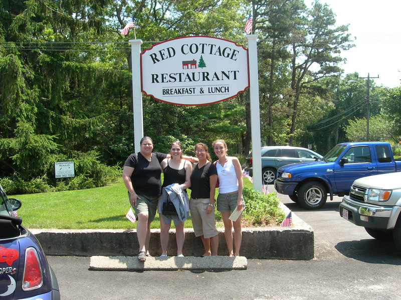 Jennifer Neal,and friends  Rhonda, Nicole and Suzy at the landmark Red Cottage Restaurant in Dennis,MA.