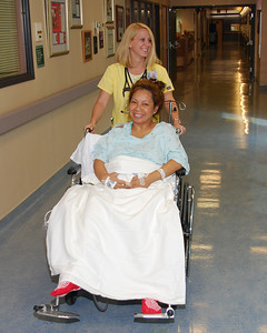 Mel gets wheeled into the newborns section from the ICU