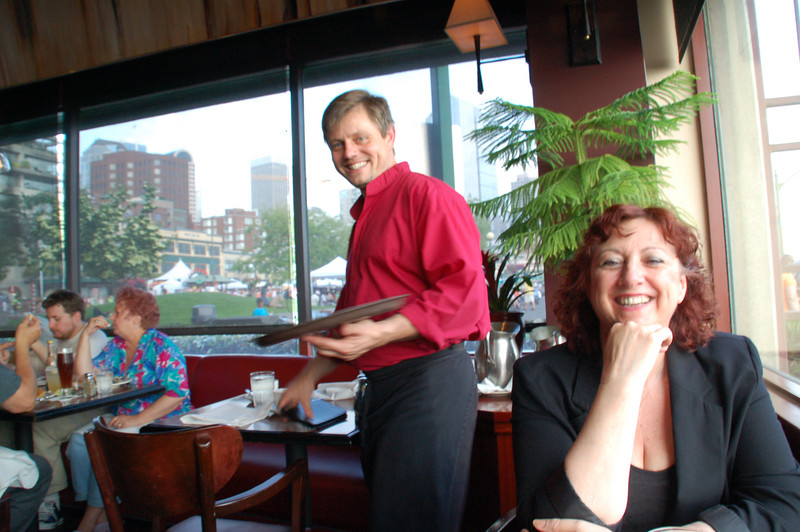 Hank, our waiter from Alabama, at Cutter's Restaurant.