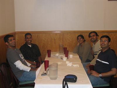 At Minerva Indian Restaurant. Bheem, Mukhil, aarthi, Deb and Arun