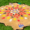 The buffalo robe include hand prints and thumb prints of those who participated in an earlier recovery experience.