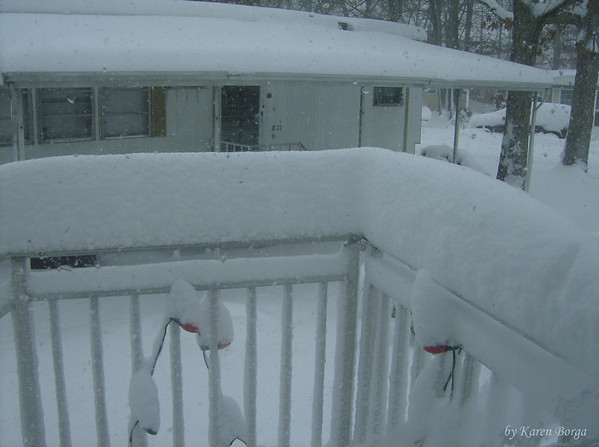 snow covered railing.<br /> February 10, 2010 Blizzard