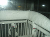 night shot of the railing,<br /> February 10, 2010 Blizzard