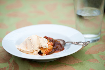 An excellent rhubarb cobbler with ice cream!