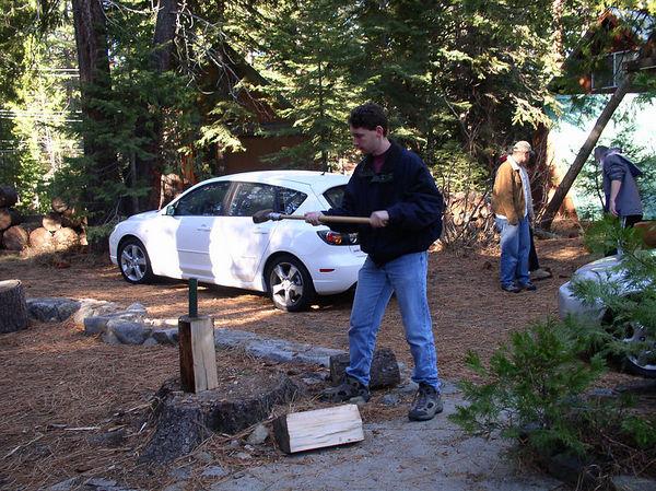 Mike splitting wood.