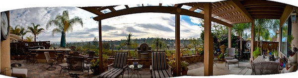 Panorama from Wayne and Sande Anderson patio overlooking the golf course behind their place.