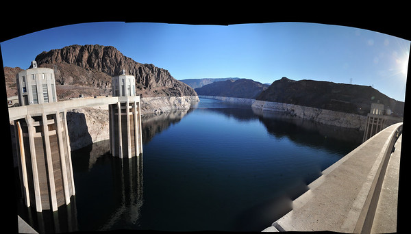 Looking at the high side of Hoover dam.  This is a 20 picture stitch.  The white ring you see is 200ft high.