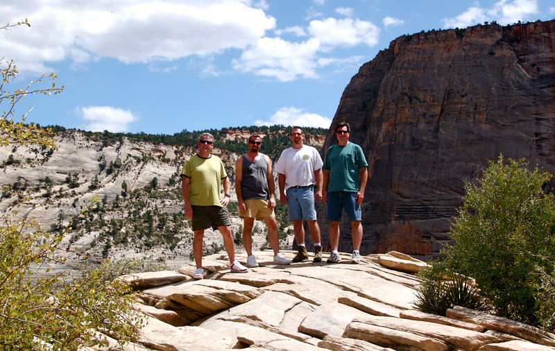 Rich, Bill, Joe, and Brian on top of Angels Landing.