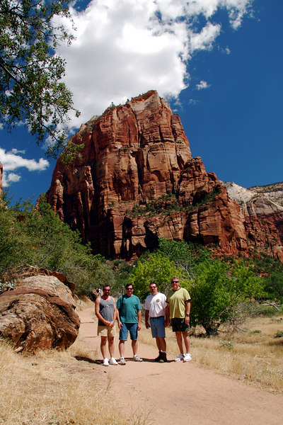 """Bill, Brian, Joe, and Rich with our destination """"Angels Landing"""" behind us."""