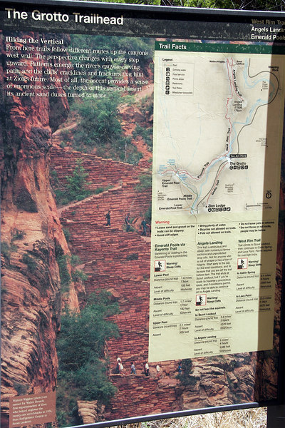 """View the original picture by clicking the """"O"""" below to read the difficulty level of our hike Angels Landing."""