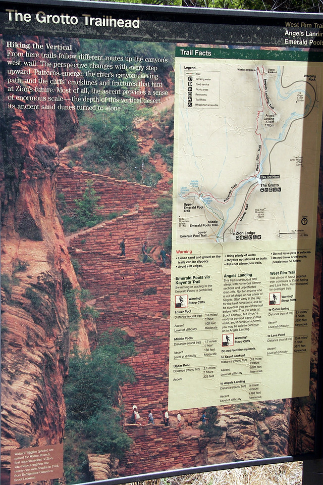 "View the original picture by clicking the ""O"" below to read the difficulty level of our hike Angels Landing."