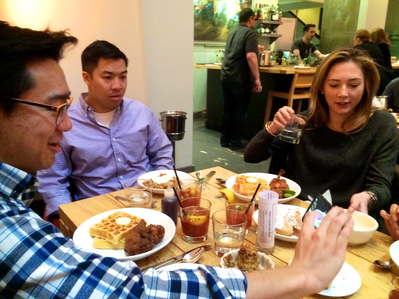Not Thanksgiving!  This is March 2015. Just a New York brunch at Ma Peche. Waffles and fried chicken!