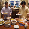 Matthew and Michael load up their plates .... notice that Faith and Sandy are taking their time and  enjoying the wine.
