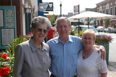 Mildred with Pat & Freddie from Ireland outside of Reza's in Andersonville, Chicago