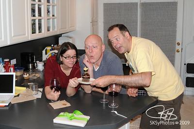 Lucia, Jonathon Weir & I pre-celebrating Jon's 50th at the Shawndominium.  June 5, 2009