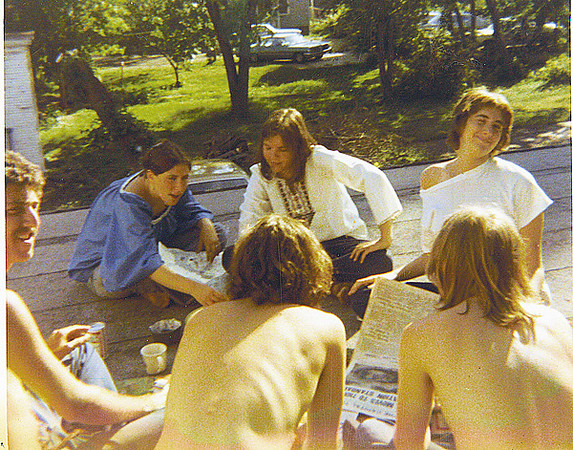 Margo Elson, Sandy Miller, Judy Kleinerman, Dan Schiller, Tony Smull, Dave Lewane, partying on the back roof of a Dayton Street apartment; May 1971