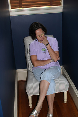 """Marion sulks in the """"time out"""" chair for setting on the settee"""