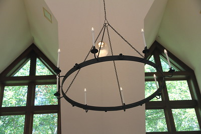 the chandeliers are handcrafted wrought iron by a metal worker from Asheville