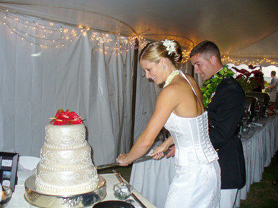 Malia and Todd -- cutting the cake with his sword