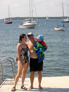 Darrow, Marny and Owen (8 months) visit Pocasset, early August 2006