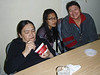 Mary Blueboy, Dechen Khangkar and Celine Koostachin in library at Keewaytinok Native Legal Services for Paul's 27th anniversary there