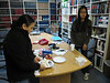 Dechen Khangkar's last day at work. Mary Blueboy and Dechen in library.