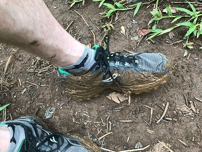 I only brought 1 pair of shoes. and the further we got on the trail, the more muddy it got. eventually it was too hard to avoid.