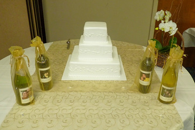 Cake and special bottles of wine