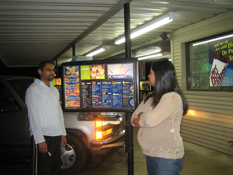We pull over at Sonic for a restroom and snack stop.