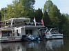 """The raft-up.  George & Maria Hastings """"Good News"""", Andruss and Cindy's """"Private Party"""", Mike & Libby Davenport's """"Libby D"""", and our scow.  :-)"""