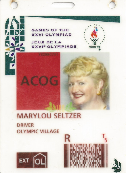 Mary Louise's badge for 1996 Olympics