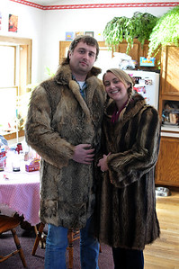 Dave's coyote coat begged for a mammalian reunion with Alida's raccoon. Good looking couple!