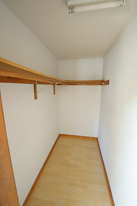 One of two master closets. Jack will install a stackable washer and dryer in here.