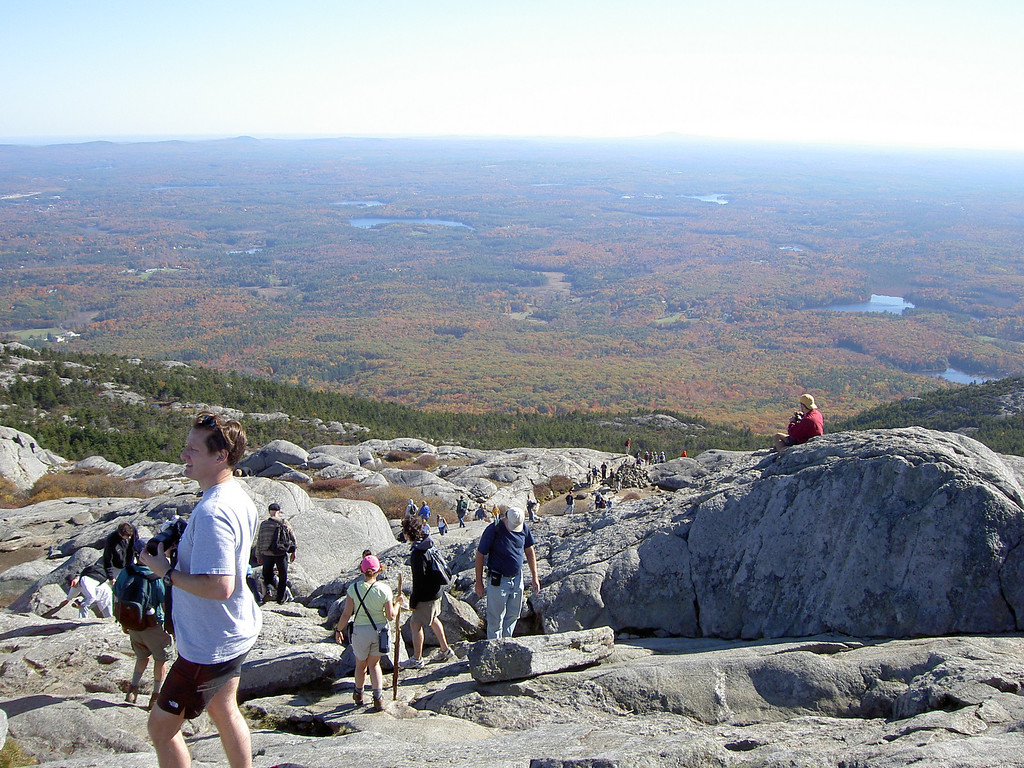 Throngs of people at the top of Monadnock on Labor Day Wknd