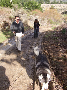 Joes and Eva, with Joel's dog. Hike with Joel McEwen, girl friend, Jean Marie Offenbacher and my wife Eva Strauss-Rosen. Moss Beach Trails. Dec 27, 2010.